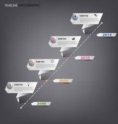 Time line info graphic white folded paper template vector