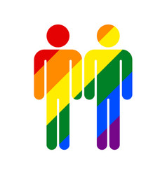 two man lgbt movement rainbow flag vector image vector image
