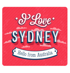 Vintage greeting card from sydney vector