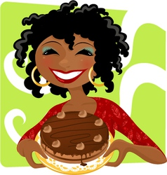 Woman with cake vector