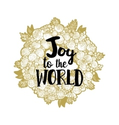 Xmas golden wreath and joy to the world vector