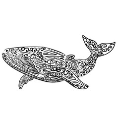 zentangle stylized whale vector image vector image