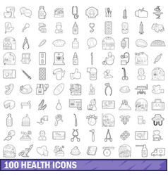 100 health icons set outline style vector