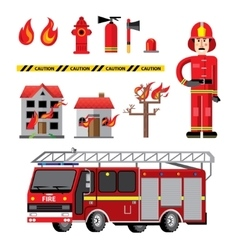 Fire department flat icons composition vector image