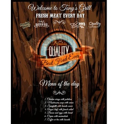 Bistro grill restaurant menu cover vector