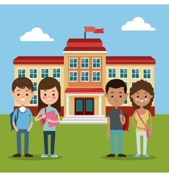 back to school group students boys and girls vector image