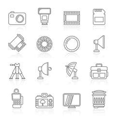 Line photography equipment icons vector