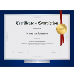 Certificate of completion template blue border vector
