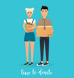 Young couple makes donations food and clothes vector