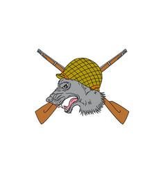 grey wolf head world war 2 helmet drawing vector image