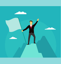Leader winner on top of the mountain success vector