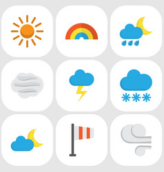 weather flat icons set collection of the flash vector image