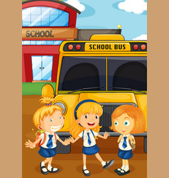 three students in uniform by the schoolbus vector image