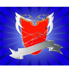 Red shield with silver banner vector