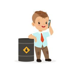 cute little boy businessman talking on smartphone vector image