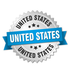 United states round silver badge with blue ribbon vector