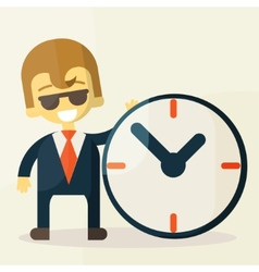 Businessman with time business concept in busy and vector