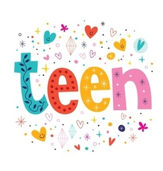Word teen retro typography lettering decorative vector