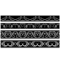 Set of borders white pattern on black vector