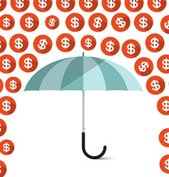 Money - dollar coins rain and umbrella vector