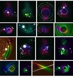 Glowing lines in the dark space set of abstract vector