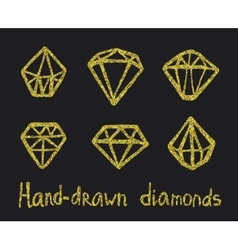 Set of golden diamonds vector