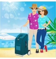 Man and woman on the beach summer sea vacation vector