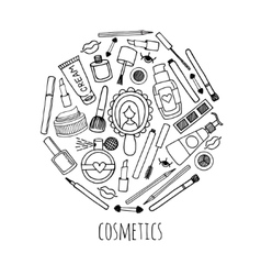 Make up and cosmetics in a circle design vector