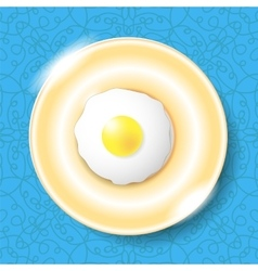 Fried egg icon isolated on blue vector