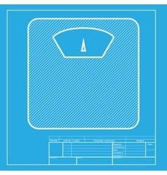 Bathroom scale sign white section of icon on vector