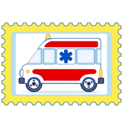 Ambulance postage stamp vector image vector image
