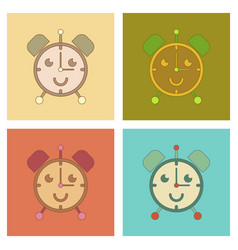 Assembly flat icons kids toy alarm clock vector
