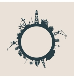 Cargo port and travel relative silhouettes vector