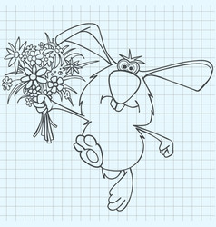 cartoon rabbit with a bouquet of flowers drawn vector image vector image
