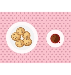Chocolate chip cookies and coffee vector