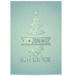 Christmas greeting card with symbols 2014 vector image