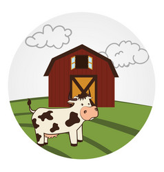Circular landscape with barn and cow vector