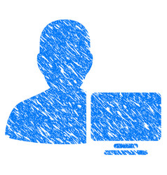 Computer administrator grunge icon vector