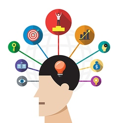 Creative brain success concept vector