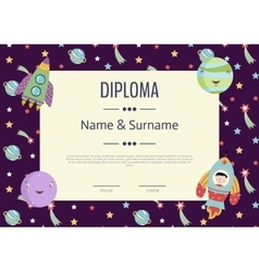 Diploma cartoon template vector