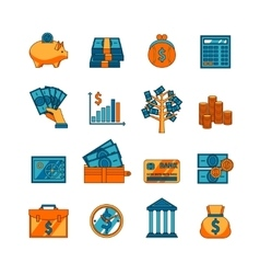 Finance business flat icons set vector