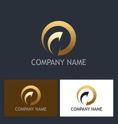 gold round arrow abstract company logo vector image vector image