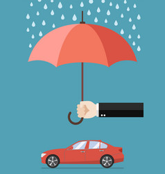 hand holding an umbrella protecting car vector image vector image