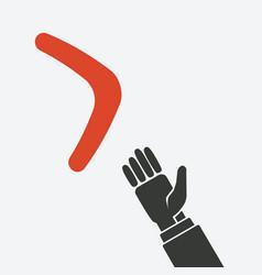 Hand to boomerang concept vector