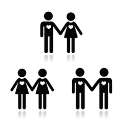 Hetero gay and lesbian love couples icons set vector image vector image