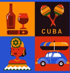 icon set of cuba havana vector image vector image