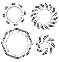 Laurel wreath tattoo set black round ornaments vector