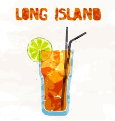Long island ice tea coctail vector