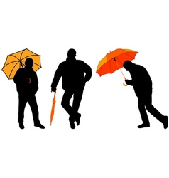 man with umbrella vector image