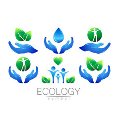 Natural logo design set hands leaves water vector